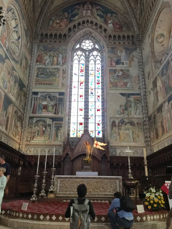Main altar with frescoes depicting the life of Mary