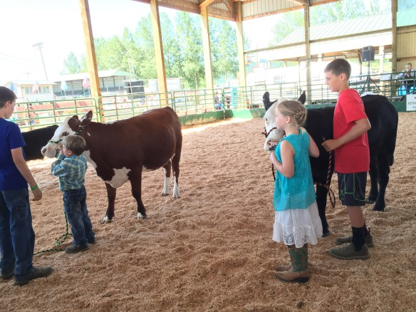 Older siblings help the little ones with their showings