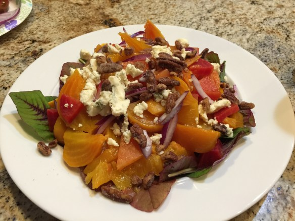 Roasted beet salad with blue cheese and oranges
