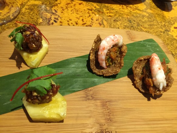 This time our amuse bouche includes shrimp toast with salmon tartar and prawn as well as the yummy meatball