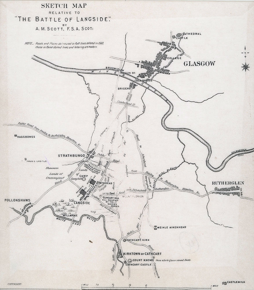 Map of the Battle of Langside 1568