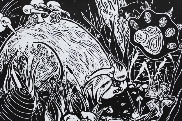 "Hibernation // linocut print // 15"" x 22"""