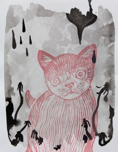 "At Twilight // linocut print and acrylic // 14"" x 11"""