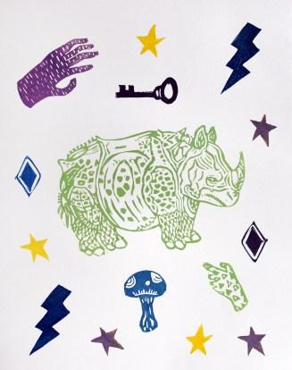 "Rhinoceros // linocut print // 14"" x 11"""
