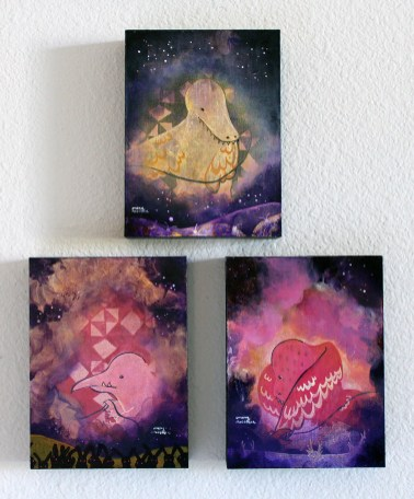 "Three Fates // acrylic on canvas // 8"" x 6"" each"
