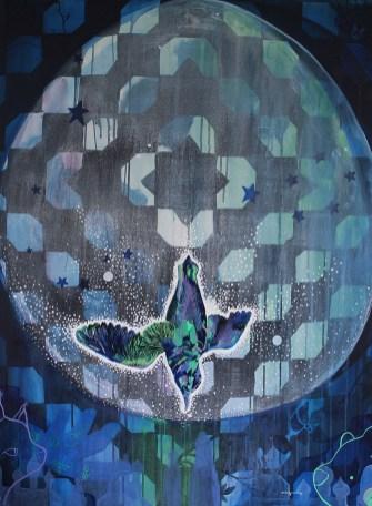 "Moonbird // acrylic on canvas // 40"" x 30"""