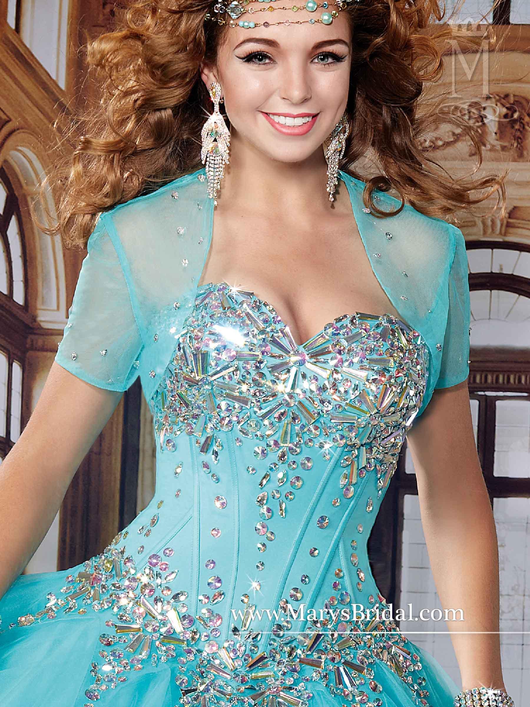 Marys Quinceanera Dresses | Style - 4496 in Capri/Multi. White/Multi Color