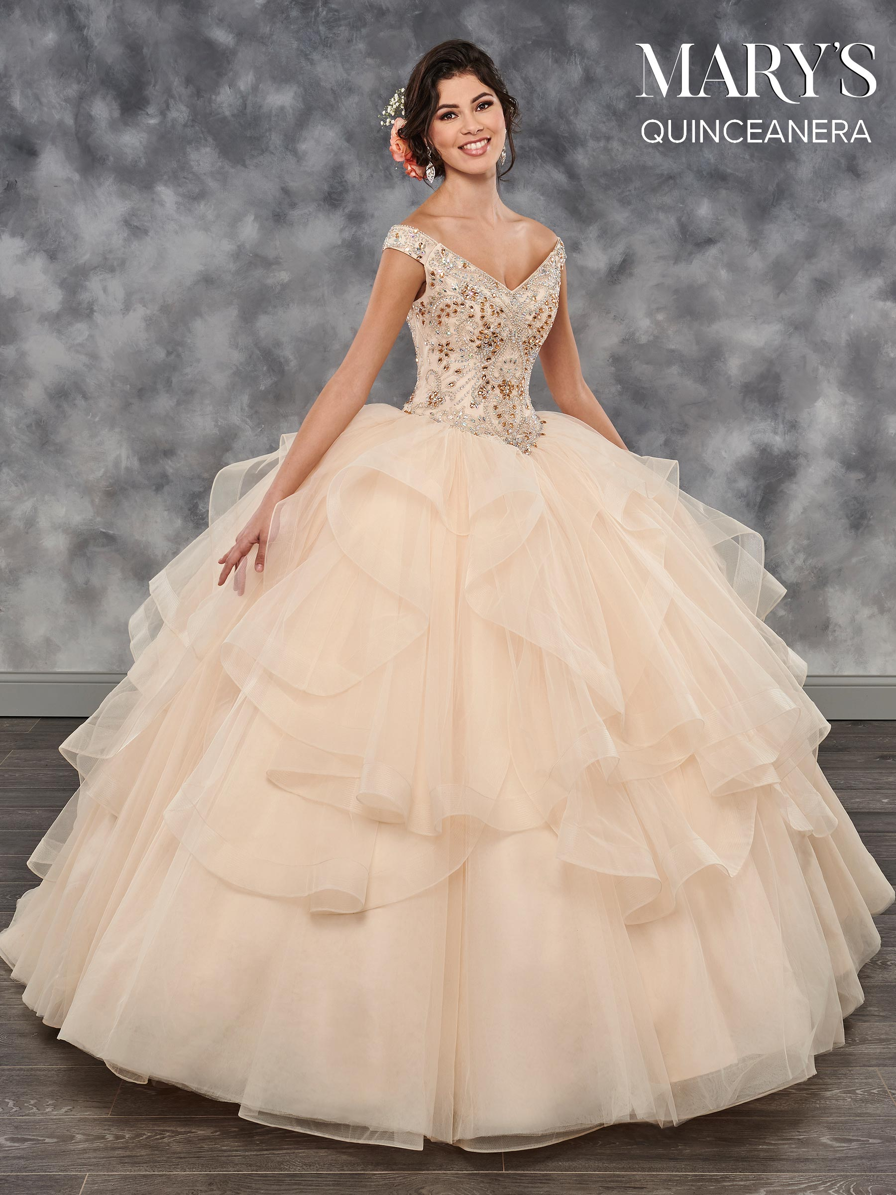 Marys Quinceanera Dresses  Style  MQ2027 in Champagne Wildberry or White Color