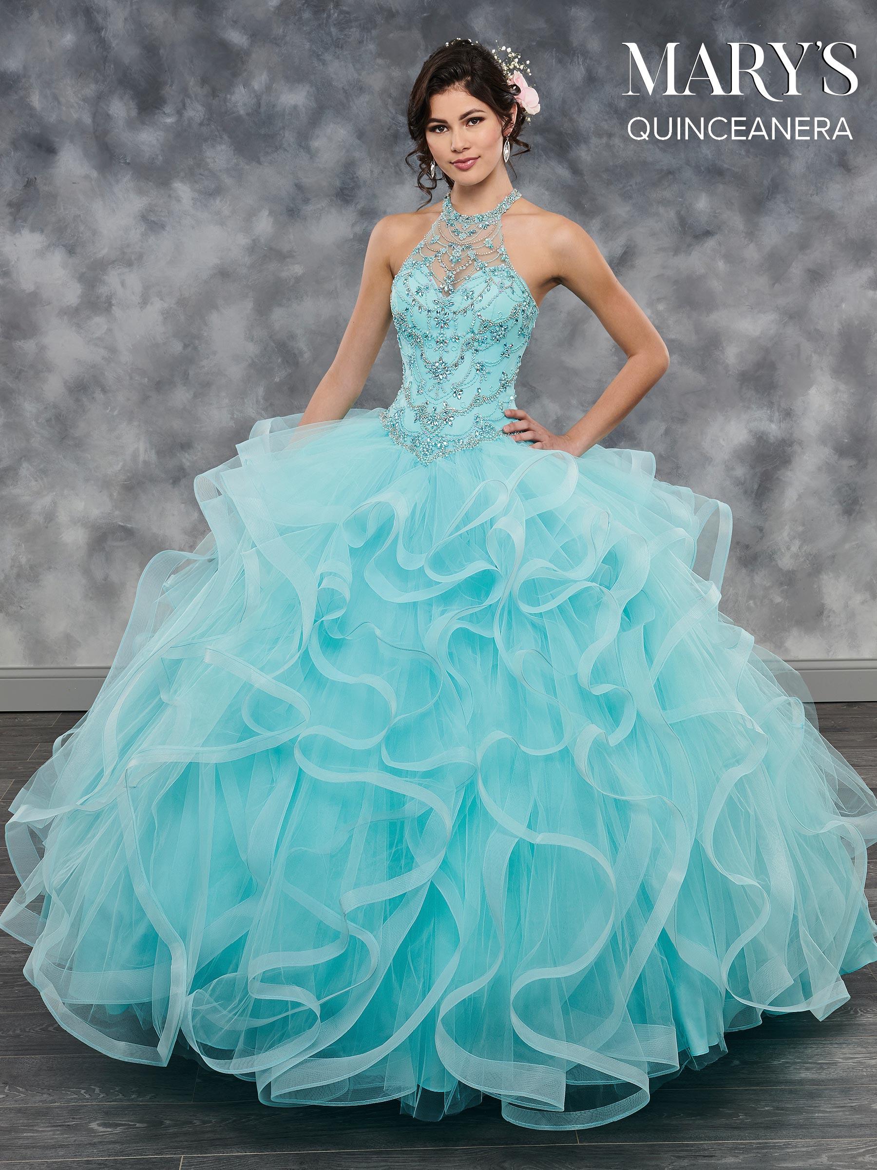 Marys Quinceanera Dresses  Style  MQ2040 in Aqua