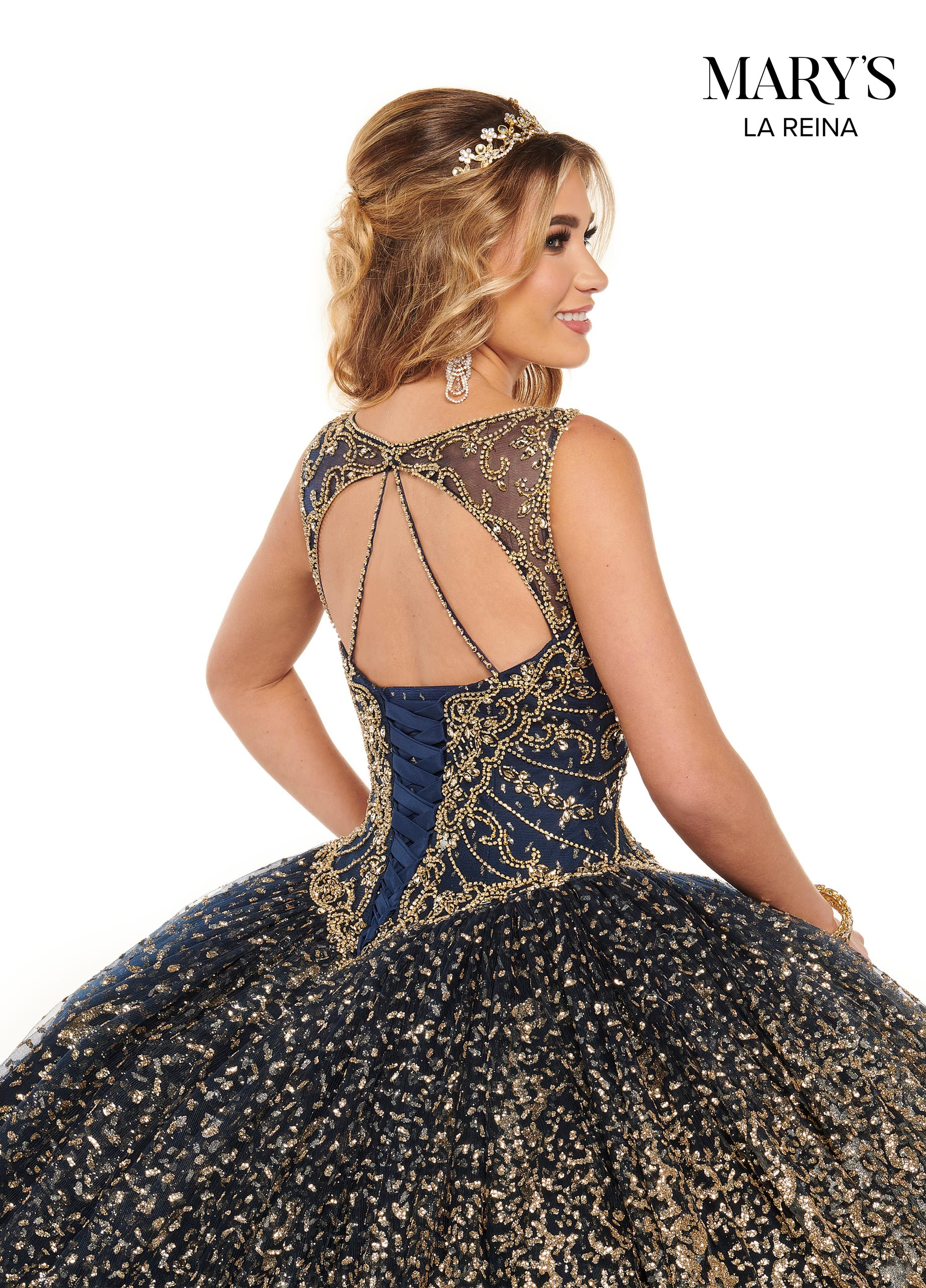 Lareina Quinceanera Dresses | Style - MQ2121 in Navy/Gold or Burgundy/Gold Color