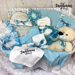 The Ingham Family Blue Moses Basket Hamper