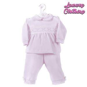 Girls Ribbon Smocked Velour 2 piece Set Luxury Clothing Mary Shortle