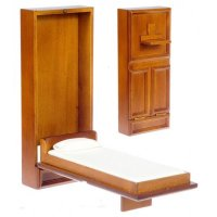 Walnut Single Murphy Bed | Mary's Dollhouse Miniatures