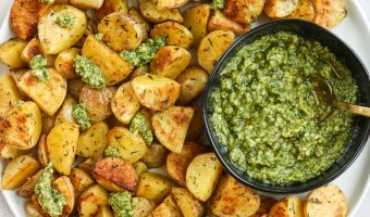 Crispy Herb Potatoes with Cashew Pesto
