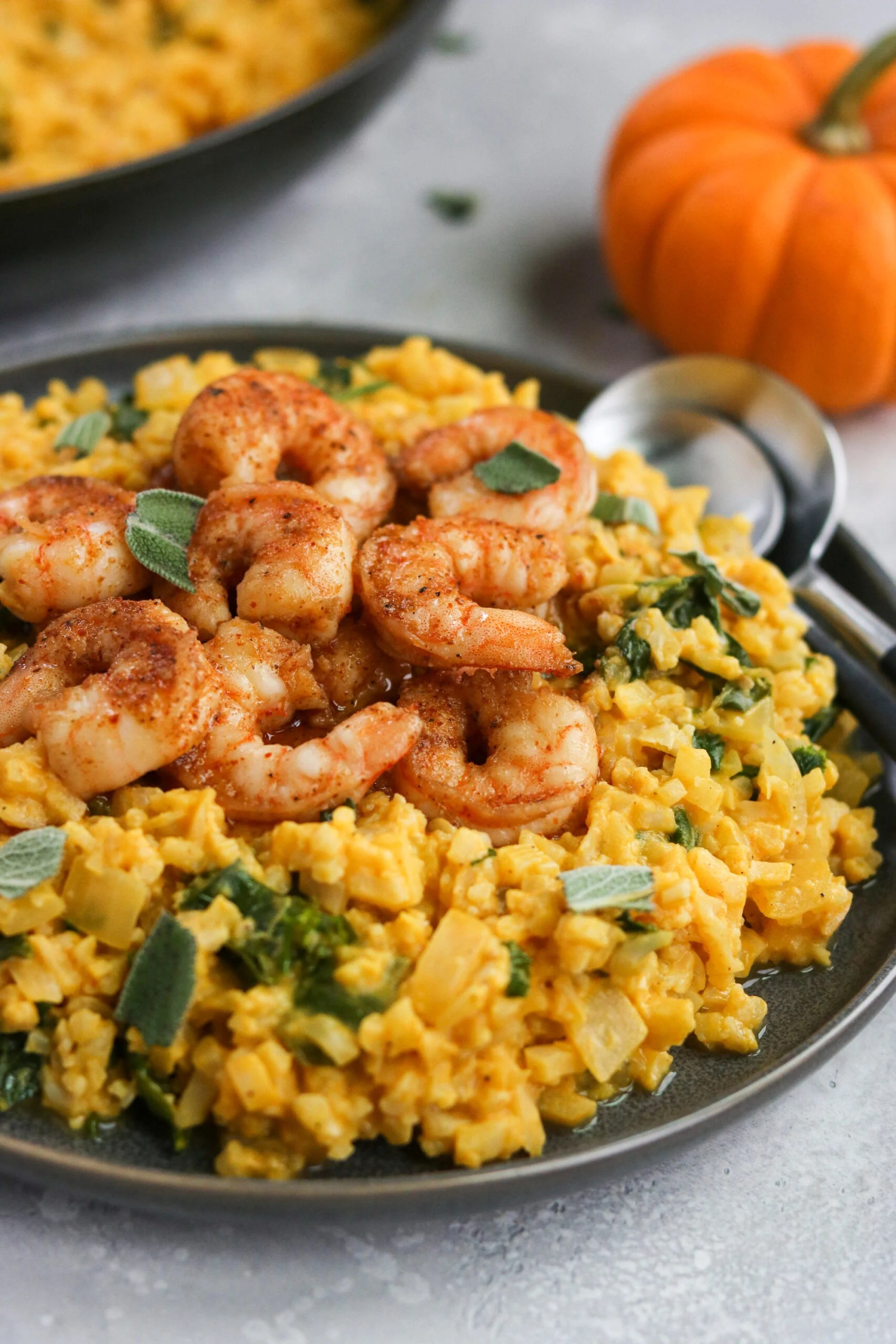 Whole30 Pumpkin Risotto with Shrimp