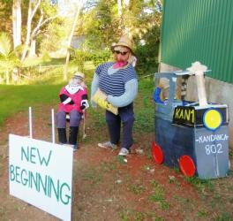 KA01 Scarecrow Name: New Beginnings Owner: Rachel Dynes 51 Main St Kandanga 4570 Registration Centre: Kandanga Category: Traditional