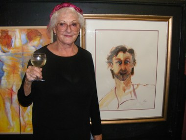 "Winning artist Jennie Hawkes Wright with her painting ""The Illusionist""."