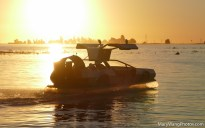Delorean Hovercraft at sunset