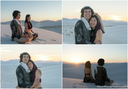White Sands, couple, meditating
