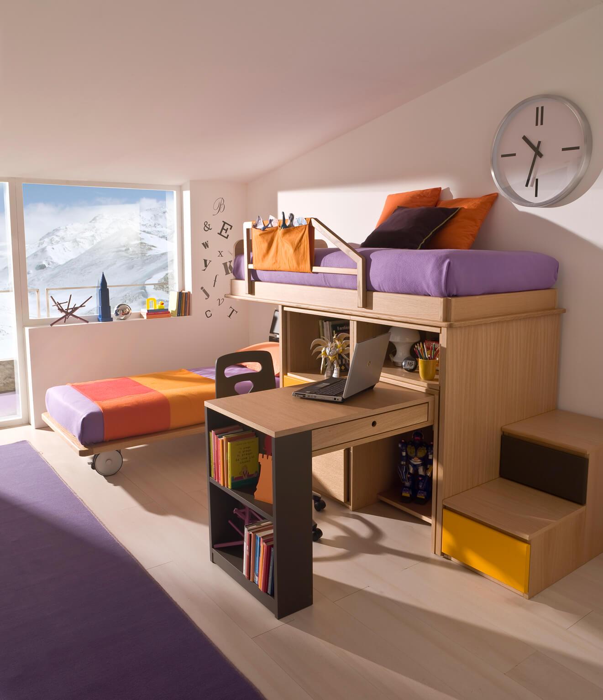 Camera con letto castello e scaletta contenitore  Marzorati