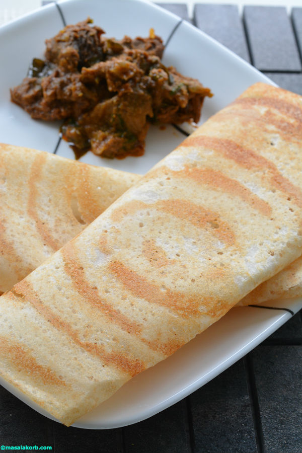 Dosa with mutton curry