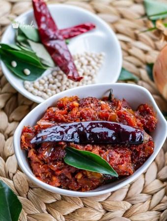 Onion chutney or Ulli Karam served in white bowl