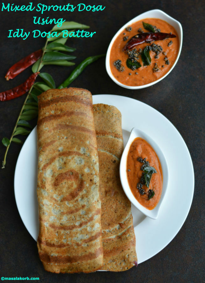Mixed Sprouts Dosa Using Idly Dosa BatterV1