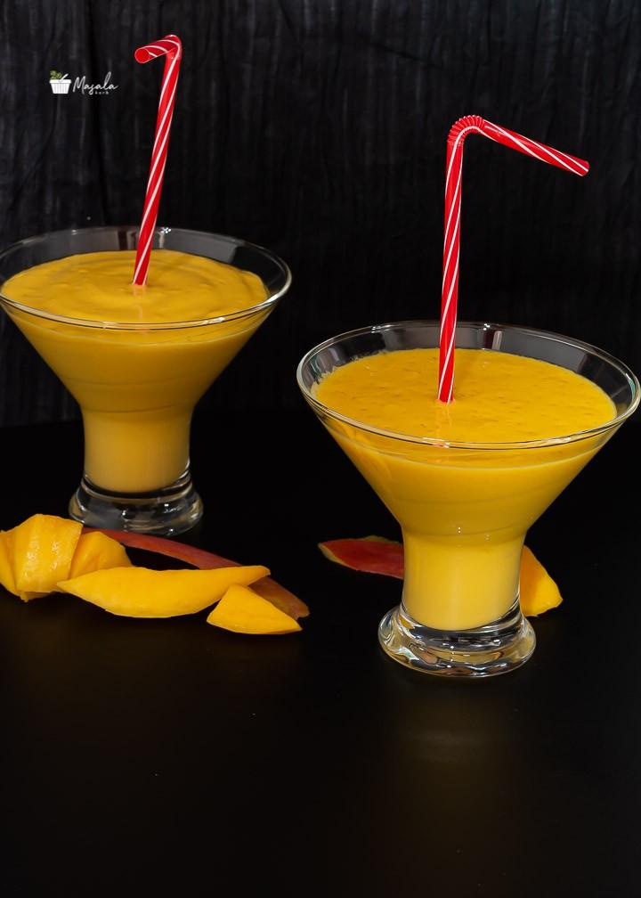 Mango Lassi served in glass.