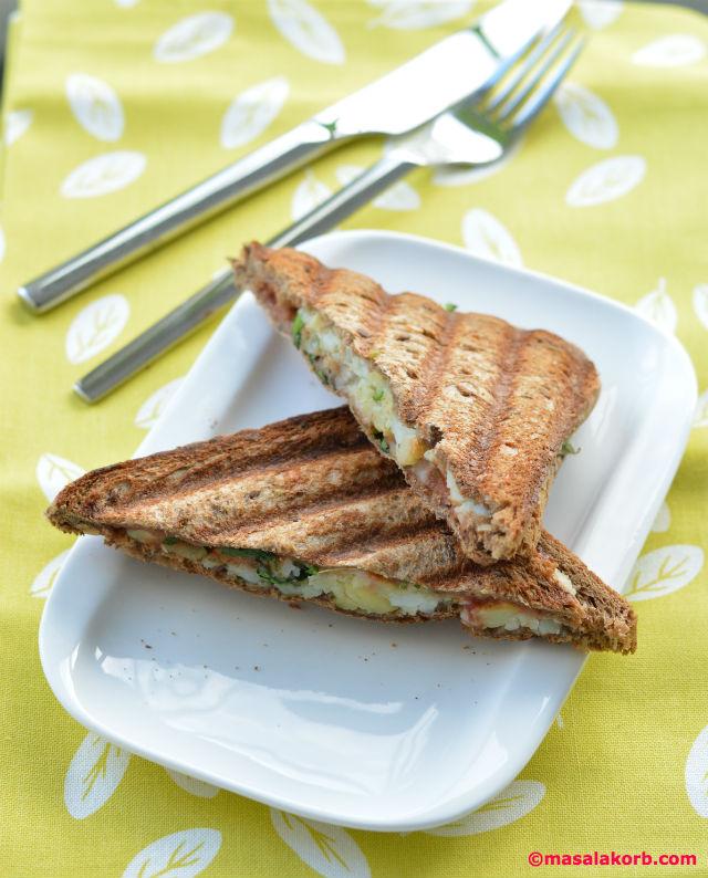 Chaat Style Mashed Potato Toast Sandwich V2