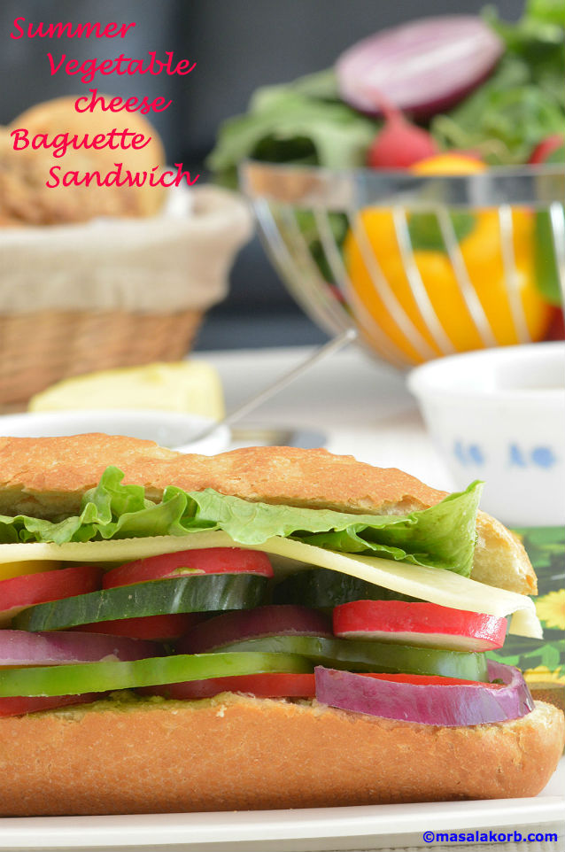 Summer Vegetable Cheese Baguette Sandwich V1