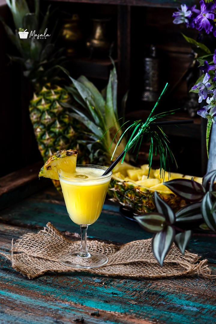 Non alcoholic pina colada mocktail served in a glass