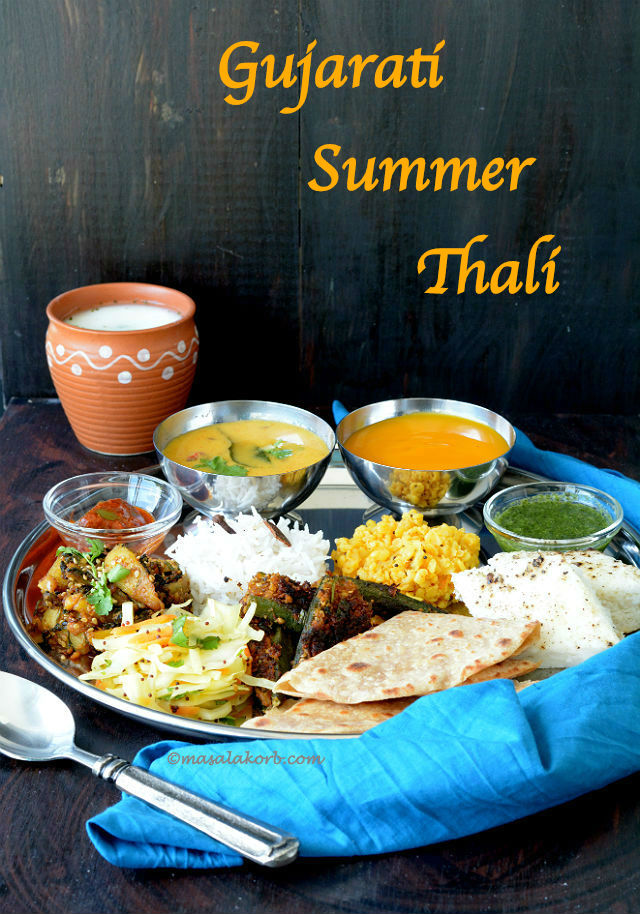 Gujarati summer thali gujarati cuisine lunch menu 1 masalakorb gujarati summer thali forumfinder Image collections
