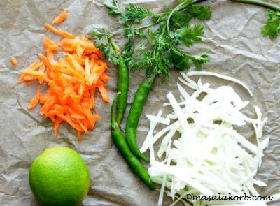 Cabbage Sambharo Recipe steps