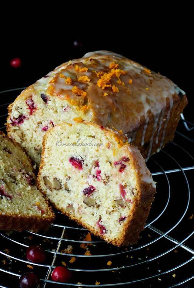 Cranberry Orange Walnut Bread with Orange Glaze