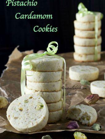 Pistachio Cardamom Cookies Shortbread Biscuits
