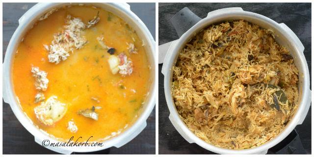 Chicken Biryani cooked in Pressure Cooker