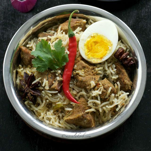 Mutton Biryani Recipe South Indian Style, Cooker Mutton Biryani