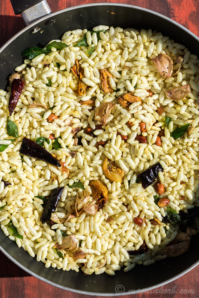 Masala Puffed Rice Recipe for Kara Pori, Masala Murmura
