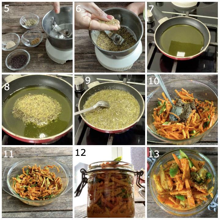Making of turmeric pickle showing stepwise pictures