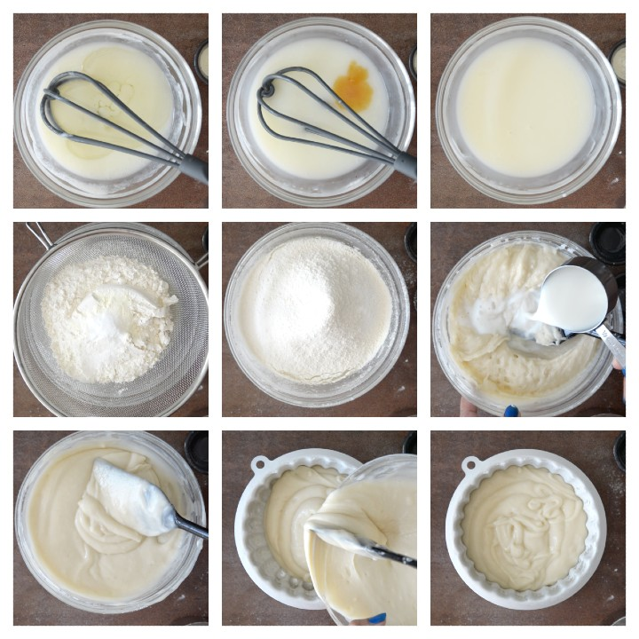 Stepwise pictorial guide to make batter for Eggless Vanilla Cake Recipe