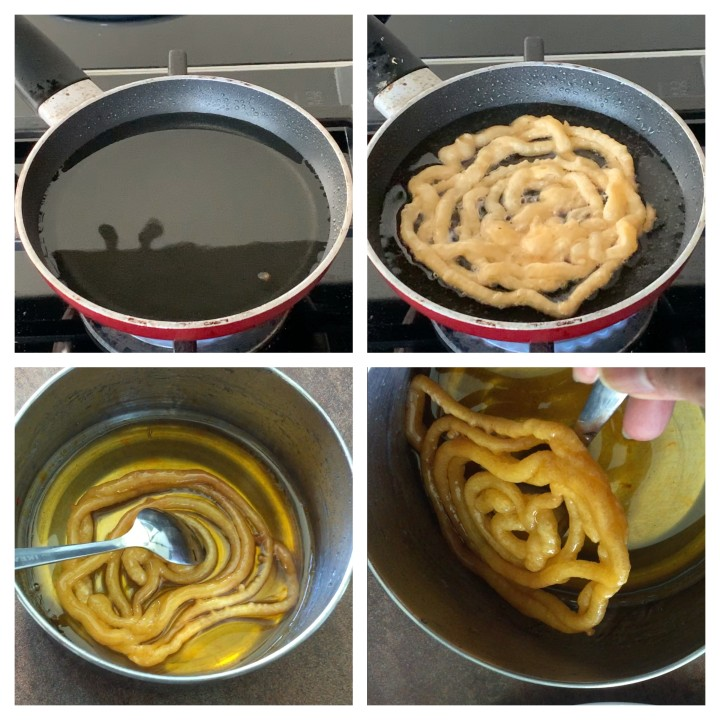 Deep frying step of Instant Jalebi Recipe Without Yeast