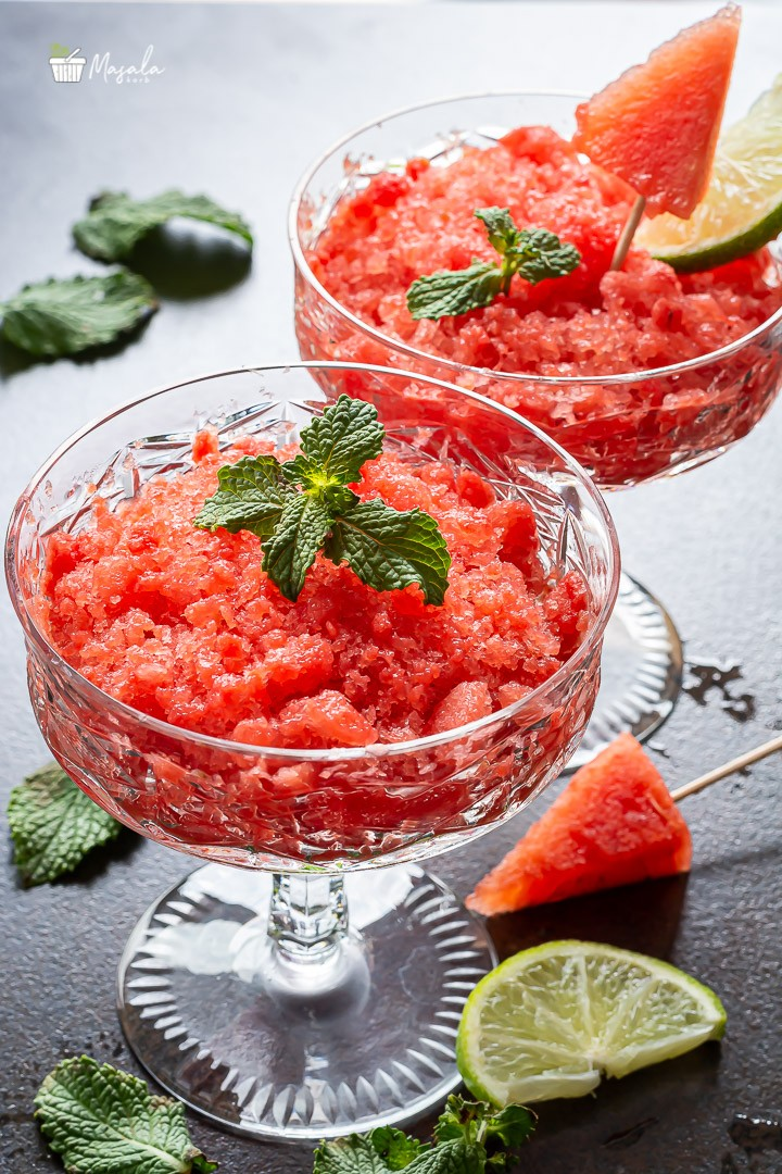 Frozen Watermelon Slushie served in a bowl-Unique Watermelon Recipes