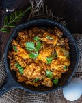 Egg Bhurji Masala served in a cast iron pan