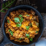 Egg Bhurji Masala served in a cast iron pan