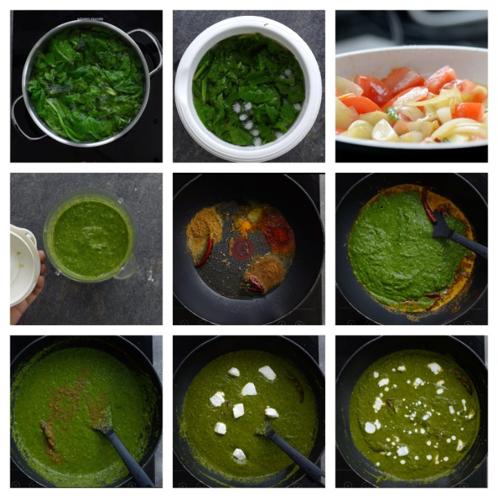 Palak Paneer preparation steps.