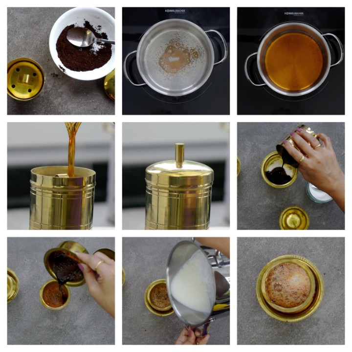 Steps to follow to prepare South Indian Filter Coffee.