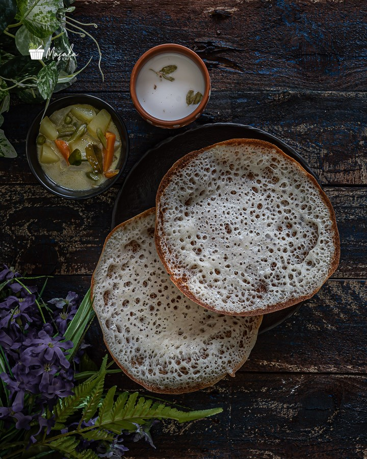 Appam Recipe Without Yeast served with vegetable stew & sweet coconut milk