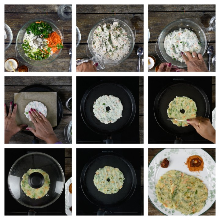 Steps to prepare masala akki roti