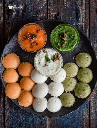 Tricolour Idli Recipe served with Tricolour Chutneys