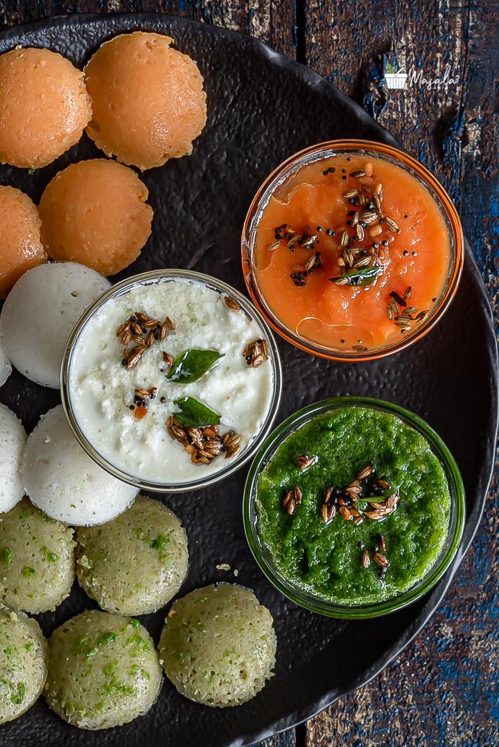 Tricolour Idli Recipe with Tricolour Chutneys, tomato chutney, white coconut chutney & Green Chutney